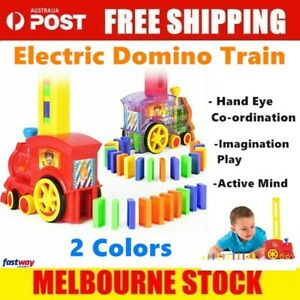 Magic Electric Train Domino Car Vehicle Model Set With 80 Domino Pieces Kid Toy~