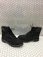 Timberland Classic 6 Inch Black Nubuck Lace Up Ankle Boots Junior Size 7 M