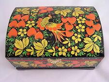 Storage Box Russian Khokhloma Hohloma Wooden Hand Painted Lacquered