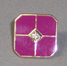 14K YELLOW GOLD DIAMOND MAGENTA ENAMEL SQUARE TIE TACK OR LAPEL PIN