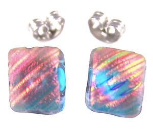"DICHROIC Post EARRINGS Clear Peach Opal Orange Ripple 1/4"" 8mm Fused GLASS STUD"
