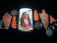 Sterling Indian Chief Coral Arrowhead Bracelet~Western Vintage Revival~J Smiley