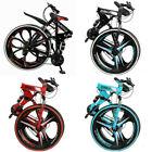 26in Folding Mountain Bike Full Suspension MTB Bikes 21 Speed Bicycle Mens Bikes