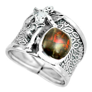 Natural Ammolite 925 Silver Angel Wings Fairy Solitaire Ring Size 7.5 D32278