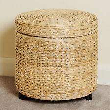 Item 1 ROUND STORAGE OTTOMAN STOOL/SIDE TABLE SEAT WOVEN WICKER RATTAN  STYLE FURNITURE  ROUND STORAGE OTTOMAN STOOL/SIDE TABLE SEAT WOVEN WICKER  RATTAN ...