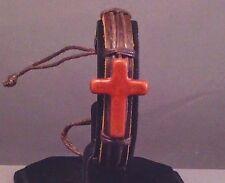 Christian Bracelet BROWN Leather Cuff Stone Cross w BROWN Trim LAST ONE!