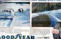 1961 2 PAGE ORIGINAL VINTAGE GOOD YEAR SNOW TIRE MAGAZINE AD