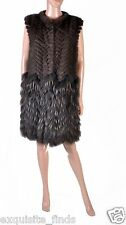 $9,975 New VERSACE Mink and Finn Raccoon Fur Sleeveless Coat Vest 42 - 6