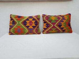16'' X 24'' Rustic Kilim Throw Pillow Covers Set of Two Decorative Couch Pillows