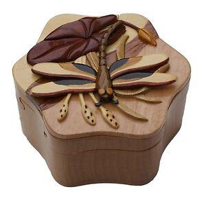 DragonFly Handmade Intarsia Puzzle box secret Compartment