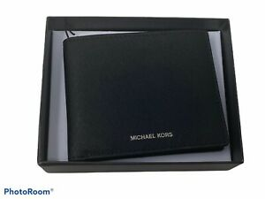 Michael Kors ANDY Slim Bifold Wallet Black Genuine Leather Saffiano $98