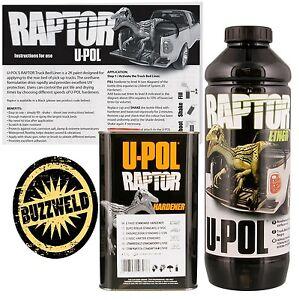 UPOL Raptor Super Tough Urethane Truck Bed Liner Spray On BLACK Coating Paint 1L