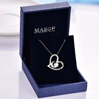 I love you to the moon and back Sterling Silver Infinity Heart Pendant Necklace