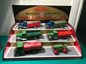 Triang Minic Vintage Tinplate Clockwork Vehicles x6 With Keys and Display Stand.