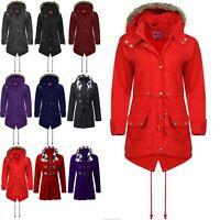 Womens Ladies Fleece Faux Fur Hooded Zip Up Pocket Long Winter Coat Parka Jacket
