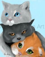 ACEO ATC Art Card Painting Print Signed Cat Cats Kitten Sisters Pet Animal