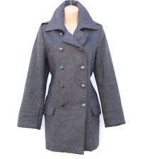 Grey wool mix tweed jsfn ajustée hip longueur dames femme caban taille uk 14 16