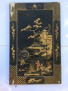 """RARE ANTIQUE CHINESE QING DYNASTY LACQUER GOLDED PAINTED PANEL, 29""""X18""""."""