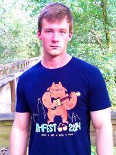 ATHENS MUSIC FESTIVAL 2014 Navy 100% Cotton Size L T-Shirt