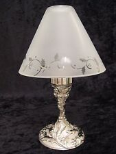Lenox Metal Holiday Candle Lamp - Etched Glass Shade - NIB