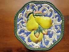 """Fitz & Floyd Pear Plate/Wall Art, hand crafted 8 7/8"""" in diameter"""