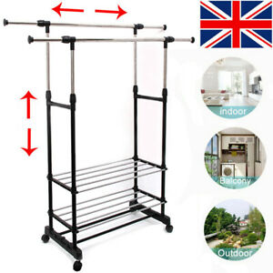 Adjustable Rail Scalable Portable Clothes Hanger Rolling Garment Shelf + Wheels