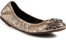 NIB TORY BURCH Heidi Leather Logo Ballet Flat Shoes US 9.5 Pewter Metallic Snake