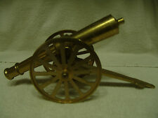 """LARGE VINTAGE SOLID BRASS CANNON W/BRASS WHEELS 15"""" LONG 3.5"""" WIDE 5 1/4"""" High"""