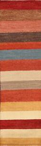 Striped Gabbeh Kashkoli Oriental Runner Rug Modern Hand-knotted Hallway 3'x10'