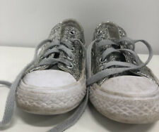 Silver Glittery Convers Shoes Size 11