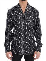 NEW $1060 DOLCE & GABBANA Shirt Black Silk White JAZZ Print Casual Mens s. 39 /M