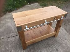 4 foot Oak butchers block kitchen island rustic reclaimed solid English Oak