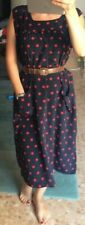 True Vintage Dots  Kleid Seide Blau / Rot Gr. M / L