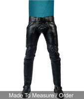 Men's Real Leather Pants Double Zips Pants Interest BLUF Bikers Pants breeches