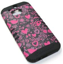 for HTC ONE M8 Hearts Cupid Arrows Kiss Hard & Soft Hybrid Rubber Koolkase Case