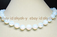 """14mm White Faceted Sri Lanka Moonstone Gems Round Beads Necklaces 17.5"""""""
