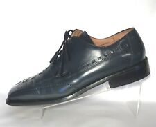 Giorgio Brutini Blue Leather Snake Tassel Lace Up Dress Shoe Mens Sz 10.5