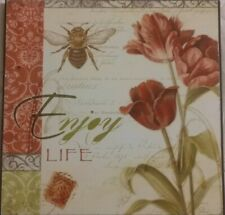 Enjoy Life Home Decor Plaque red flowers bee Picture, quote, saying, words
