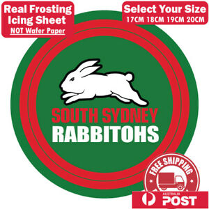 NRL South Sydney Rabbitohs Edible Image Cake Topper Round Frosting Icing Party