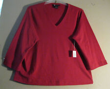 Carole Little QVC 2X 3X Blouse Red - Rust New With Tags Cotton   NICE COLOR!!