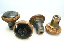 Vtg Brown DOOR KNOBS Art Deco - May be Bakelite or Plastic with METAL SCREW BASE