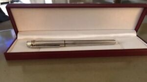 Must de CARTIER ROLLERBALL PEN  IN SILVER PLATED USED  100% AUTHENTIC!!