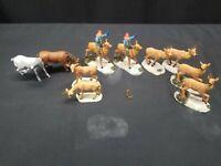 Lemax Christmas Village Figurine 8 Deer, 2 Have Elves Riding, 2 Horses   Lot 8