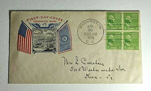 1938  FDC #804 HUX Cachet 1 Cent George Washington Block of 4 Prexie Series