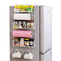 5 Tiers Iron Wall Mount Kitchen Freezer Door Spice Rack Cabinet Organizer Storag