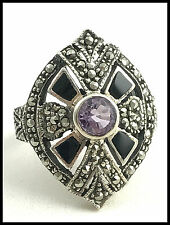 VINTAGE .925 STERLING SILVER, ONYX, AMETHYST & MARCASITE RING - SIZE 6.75
