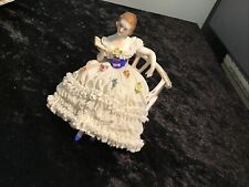 VICTORIAN GOWNED LADY FASHION SITTING ON A BENCH READING DRESDEN LACE FIGURINE