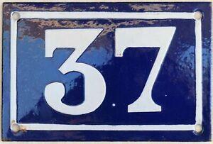 Old blue French house number 37 door gate plate plaque enamel metal sign c1950