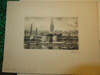 HUBERT GRAVURE EAU FORTE ORIGINALE ST MALO BRETAGNE MARINE ILLE & VILAINE 1930