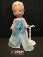 "Disney Parks Authentic Elsa 12"" tall Precious Moments Doll w/ stand Frozen"